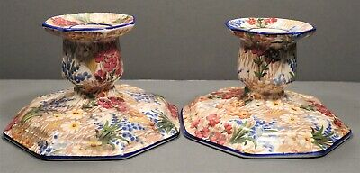 PAIR Royal Winton Grimwades Candle Holders Marguerite Pattern Chintz England