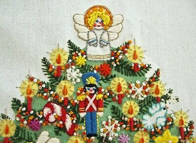 fabulous vintage Christmas Tree embroidery Sunset Designs fully worked 20x18""