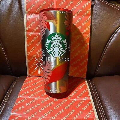 Starbucks Christmas Cold Cup Tumbler Winter Holiday 2019 24 oz Mistletoe Silver