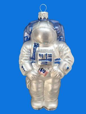 Astronaut Usa Nasa European Blown Glass Christmas Tree Ornament Space Suite Moon