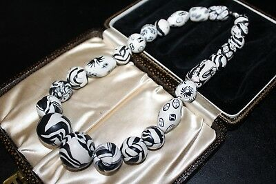 Antique Venetian Black White African Trade Beads Faces Insects Necklace Ng4