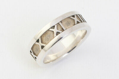 Authentic Tiffany & Co. Atlas Band Ring 925 Sterling Silver Size US4 #52802