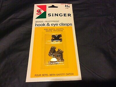 Singer - New Pack Of Brass Rustproof Hook & Eye Clasps - 4 Sets