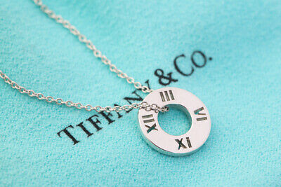 Authentic Tiffany & Co. Atlas Circle Pendant Necklace Sterling Silver 925 #26223
