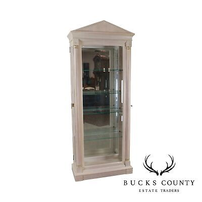 Ethan Allen French Empire Style White Wash Painted Curio Vitrine Cabinet