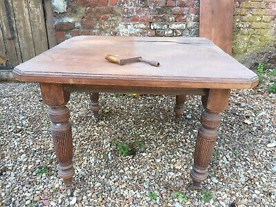 Antique Victorian extending wind out table with crank handle dining room