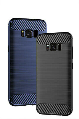 For Samsung Galaxy S8 S9 S10 Plus Fiber Carbon Silicone Shockproof Case Cover