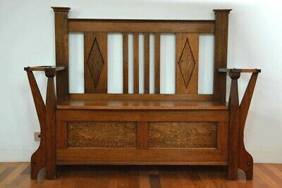 Antique Arts and Craft Oak Bench Seat with Storage