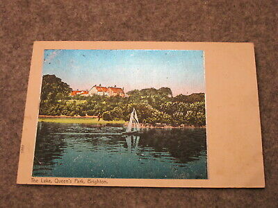 1908 fr Sussex postcard - The Lake Queens park - Brighton ( very Shiny )