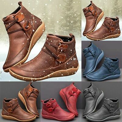 Womens Retro Flat Ankle Boots Ladies PU Leather Soft Comfy Booties Shoes Size UK