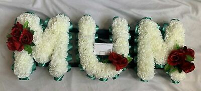 Mum Artificial Silk Funeral Tribute Flower Letter Name Wreath Rose Nan Son Dad