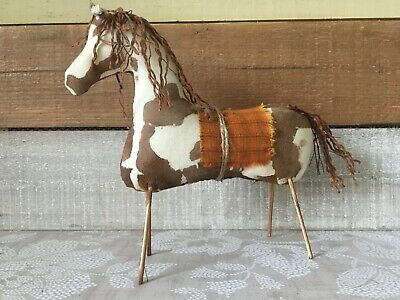 Primitive Handmade Brown and White Paint Horse, Primitive Spotted Paint Horse