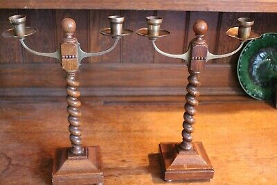 Pair of unusual Arts and Crafts candlesticks