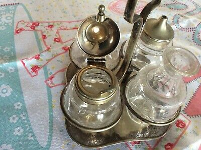 Vintage Two  EPNS Condiment Sets Silver Plate Made In England.