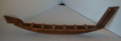 Hand Carved Wooden New Zealand Maori Wood Carvings  Figure Boat