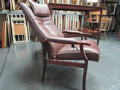 Danish Leather Recliner Armchair Lounge Chair Mid Century Design Hydraulic