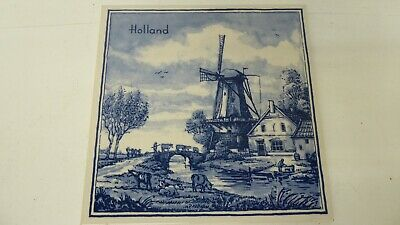 Vintage Dutch Hand Painted Delft Blauu  Blue White Tile Windmill Holland