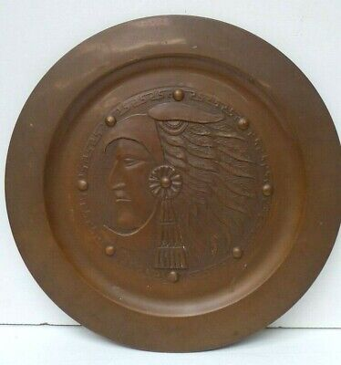 Antique Embossed American Indian Chief Copper Charger Plate Feather Head Dress