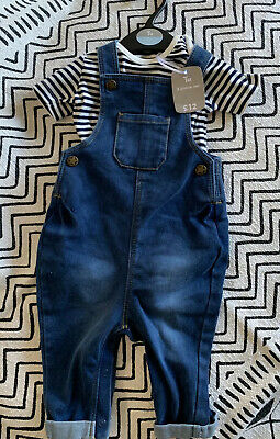 Boys 2pc Set Outfit Denim Dungarees Bodysuit TU Sainsbury's 6-9 Months Brand New