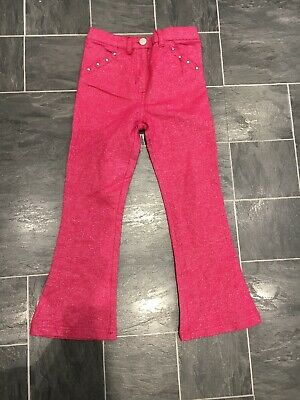 2 Pairs Girls Size 5-6 Years Pink Sparkle Flared Metallic Party Trousers/Jeans