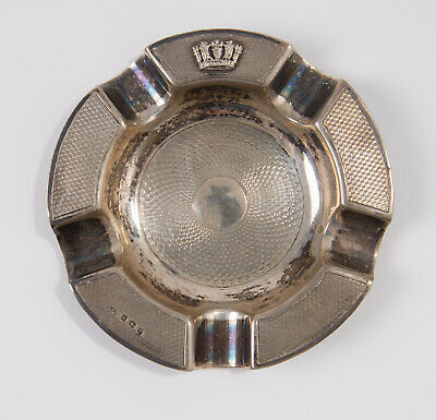 Antique Art Deco Gieves Solid Silver Naval Crown Ashtray