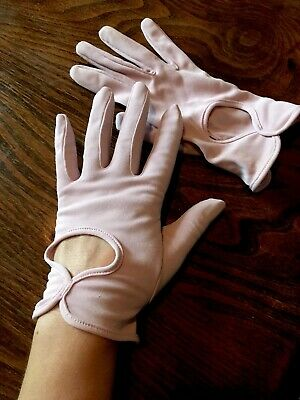 Ladies pink gloves 1960s 1950s vintage original SM Elegant Cropped