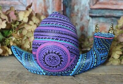 Alebrije Snail Intricately Hand Painted Carved Handmade Mexican Folk Art Oaxaca