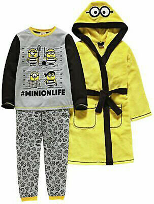 9-10 Yrs Minions Pyjamas & Dressing Gown Robe 3pce Nightwear Set Despicable ME 3