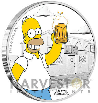 2019 The Simpsons - Homer Simpson - 1 Oz. Silver Coin - With Ogp - Mintage 5,000