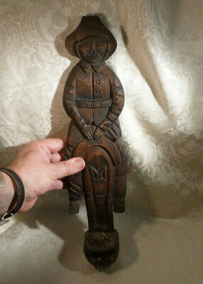 Vintage Spanish Wood Wall Sconce Candle Holder Don Quixote Sancho Panza Donkey