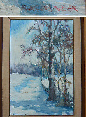 16 x 24 Bushneer? Signed Canada Original Painting Oil on Canvas winter landscape
