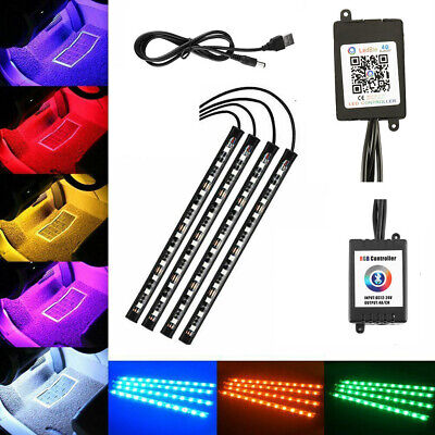 4x12LED RGB Neon Strip Colors Lights Music Remote Control Car Interior Footwell