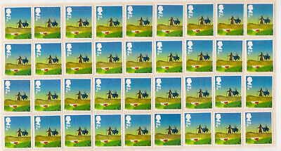100 2nd CLASS CHRISTMAS STAMPS £60 FACE VALUE UNFRANKED OFF PAPER WITH GUM