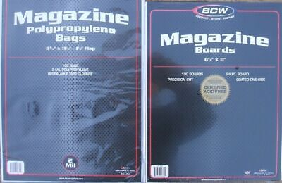 (100) Bcw Magazine Size Size Bags / Covers And Backing Boards