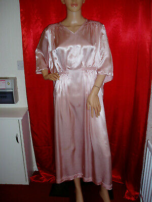 vintage long pink liquid satin acetate nightgown size 20
