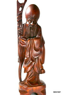 """Hand Carved Wooden Chinese Wise Man With Walking Stick Shou Lao Figurine 12"""""""
