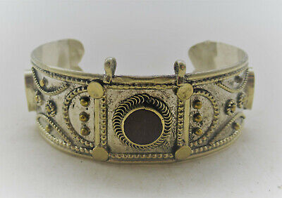 Beautiful Post Medieval Islamic Ottoman Silver Gilt Bracelet With Stones