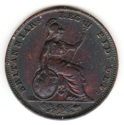 1843 Great Britain Queen Victoria 1 One Farthing.  High Grade.