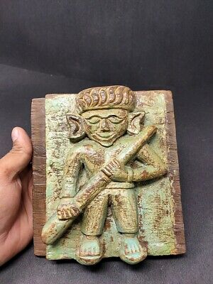 Antique Wooden Green Painted Musician Statue Figure Panel Hand Carved Sculpture