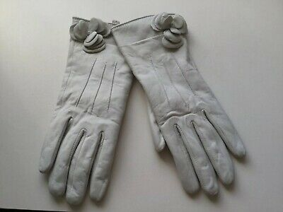 Ladies Super Soft 100% Leather Gloves (S) Ivory