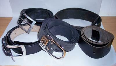JOB LOT 5 x Vintage BLACK LEATHER BELTS Two Without Buckles