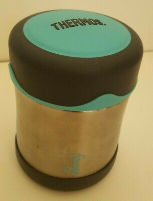 THERMOS FOOGO Vacuum Insulated Stainless Steel 10-Ounce Food Jar, Charcoal/Teal