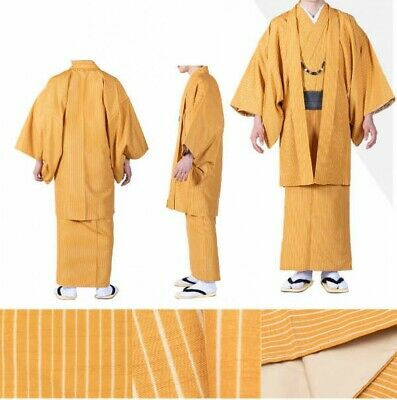 Japanese Traditional Men's Kimono HAORI Jacket Coat Stripe Orange Japan Tracking