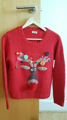 NEXT GIRLS' RED WINTER / CHRISTMAS REINDEER JUMPER - SIZE 13 YEARS / 158 cm