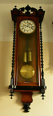 Biedermeier Vienna regulator wall clock with bobbin turned ebonised pilasters