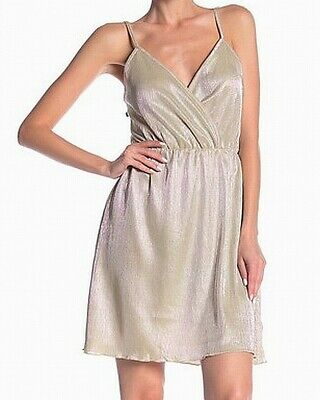 Angie Womens Shift Dress Gold Size Medium M Pleated Shimmer Surplice $50 397