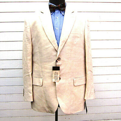 Tasso Elba Pure Linen Blazer Sports Coat Mens L 42-44 New Tags Dual Vent Ivory