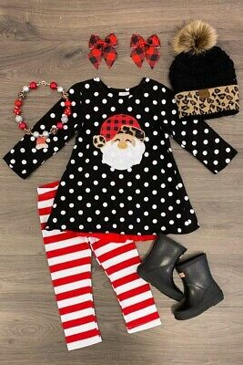 US Girls Pants Outfit Toddler Christmas 2 PC Santa Striped  Pants Set