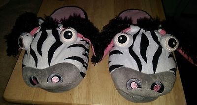 Silly Slippers NWOT Girls Multi Color Zebra Slippers Size L 2 3