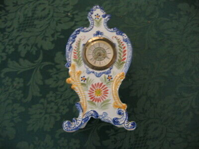 VINTAGE QUIMPER FAIENCE HAND PAINTED WIND UP ORNATE CLOCK a/f - FRANCE